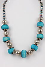 HANDMADE CHUNKY WOODEN & SILVERTONE BEADS NECKLACE FASHION 4799