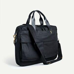 "$158 NWT J. CREW Black waxed cotton Laptop multi 11.5"" x 16""W Abingdon briefcase"
