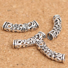THAI .925 SILVER 18mm X 4MM FLORAL OPEN WEAVE CURVED TUBE BEAD - (1)