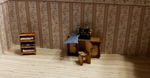 Dollhouse Miniature 1:144 Scale Sewing ROOM ASSEMBLED with Chair & fabric shelf
