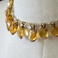 Edwardian Citrine & Natural Pearl fringe necklace with 9ct barrel clasp C1900