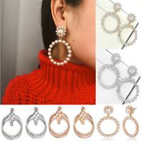 Popular Women Crystal Pearl Circle Statement Drop Earrings Dangle Wedding Gift
