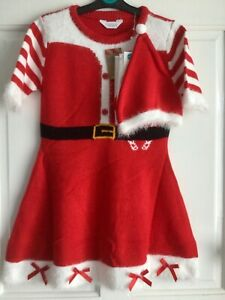 BNWT Girls Festive Knitted Red Christmas Dress Set With Hat & Tights