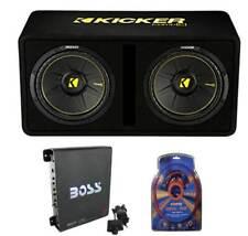 """Kicker 44Dcwc122 12"""" 1200W Car Audio Subwoofer Sub Enclosure+Mono Amplifier Kit"""