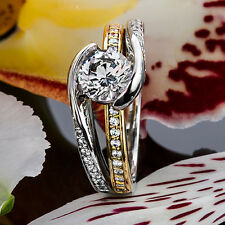 1.32 CT ROUND CUT NATURAL DIAMOND ENGAGEMENT RING 14K MULTI TONE GOLD ENHANCED