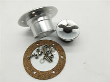 With 6 Hole Anodized  - Silver Billet Aluminum Aircraft Style Fuel Cell Gas Cap