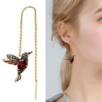 Elegante Birdie Drop Kristall Baumeln Ohrringe für Frauen Quaste Klassische C6B5
