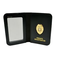 Private Investigator Eye Detective PI Courtesy Badge Leather Black Wallet NEW