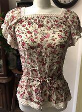 Costa Blanca Floral W/ Lace Short Sleeve Adjustable Waistline Women Blouse Sz S