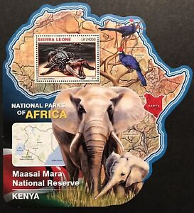 SIERRA LEONE WILD ANIMALS MAP SHAPED STAMPS SS 16 MNH NAT PARKS AFRICA CROCODILE