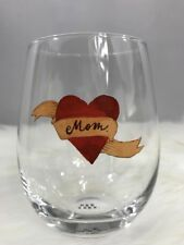 "Rae Dunn Stemless Wine Glass ""MOM"" Tattoo Mother's Day 2018 RARE - HTF NEW"