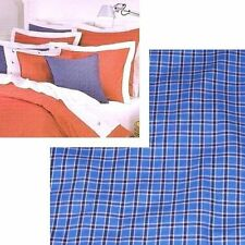 Nautica TATTERSALL THROW PILLOW Blue Navy White Plaid Check Cotton Bed Couch NEW