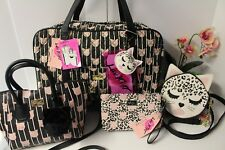 BETSEY JOHNSON Quilted WEEKENDER Satchel Canteen bag crossbody wristlet SET (4)
