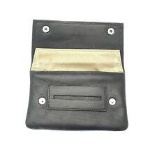 Soft Black Leather Cigarette Tobacco Pouch Case Organiser Rolling Paper Pocket