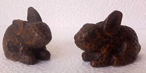Wooden Rabbit Copper Fitted Old Hand Made Carved Figurine Statue Pair