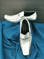 Aurelio Garcia Fiesso Square Toe Silver FI-8068 Leather Dress Loafers Men's 13