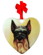 Free Shipping Schnauzer Ceramic Heart Ornament Dog Breed sale! New In Pkg Gift