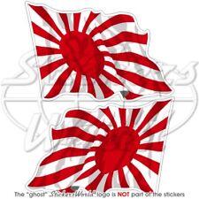 """LE JAPON JAPONAIS RISING SUN Vol Drapeau 75 mm (3"""") Vinyle Autocollants Decals x2"""