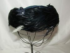 Vtg Feather Womens Pillbox Hat Dressy Art Deco 1920s 30s 40s Small Medium Blue