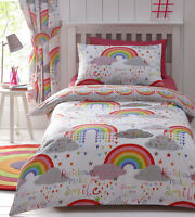 Clouds & Rainbows Girls Kids Cute Love Reversible Duvet Quilt Cover Bedding Set