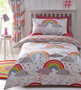 Clouds & Rainbows Girls Kids Cute Love Reversible Duvet Quilt Cover Bedding Set