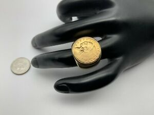 Handsome 14K Yellow Gold And 22K $2.50 Indian Head Men's Ring Size 8, 18.5 Grams