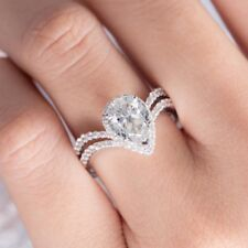 Sterling Silver Sparkle Ring For Girl Pear Shaped Halo Fashion Ring 925