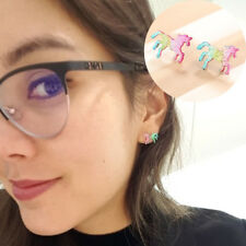 1Pair Small Fresh Color Pony Unicorn Earrings Women Creative Animal Stud Ear