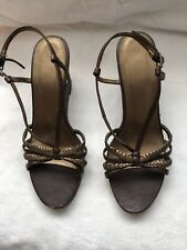 Ladies Brown Strappy Wedge Heel Sandals Size 6.5