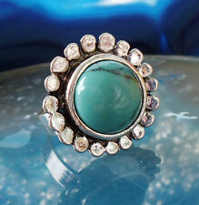 Ring in Vintage Style with Turquoise Coloured Stone Tibet Silver Flower Blossom
