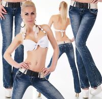 Women's Boot Cut Jeans Low Cut  Blue Wash Classic Trousers Inc+ Belt 6-14 UK