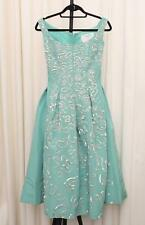 OSCAR DE LA RENTA $16K Turquoise Green Sequin Sleeveless Fit+Flare Dress 0/XS