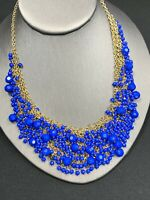 Vintage Royal  Blue Gold Bohemian Heavily Beaded Fun Bib Statement Necklace 16""