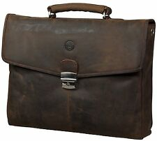 dbramante1928 Leather Briefcase Laptop Bag- Hunter Brown for Laptops upto 14inch
