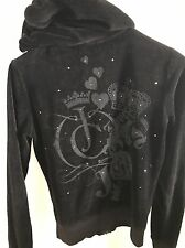 Black Juicy Couture Tracksuit Velour Hoody Size M As New 100% Genuine