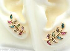 New Gold Ear Cuff Pins Trails up Lobe Earrings Wrap Pair Leaf Crystals