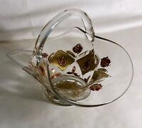 "Goofus Glass Floral And Diamond 6"" Handled Basket"