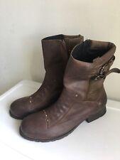 Mens Diesel Moonwalk II Ankle Leather Biker Boots Brown Buckle Size 9 Mahogany