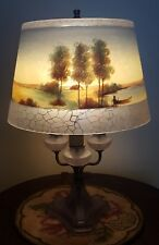 Unusual Jefferson Reverse Painted Candle Style Scenic Lamp - Handel Style