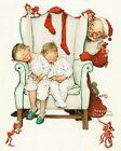 Norman Rockwell Santa Looking At Two Sleeping Children 11 x 14 Art Print