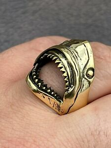 Real 14k Gold Over 925 Sterling Silver Mens Great White Shark Teeth JAWS Ring