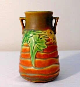 ROSEVILLE LUFFA PATTERN 1930'S VASE - IN EXCELLENT CONDITION
