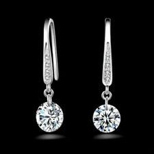 Earrings White Gold Diamond Hook Drops Wedding 32 mm Seasonal Gift