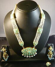 ANTIQUE VINTAGE REAL GOLD FINE TURQUOISE SEED PEARL NECKLACE SET 3 WEDDING INDIA