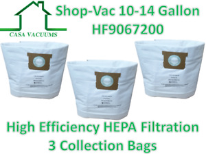 Casa 3 Pk Shop Vac 9067200 10-14 Gallon HEPA Disposable Collection Bag F 90662