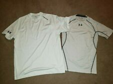 Under Armour Shirt T-shirt LOT Mens Medium MD White Compression Loose Heat Gear