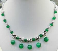 """LOVELY NATURAL GREEN JADE ROUND BEADS PENDANTS & TIBET SILVER NECKLACE 18"""""""