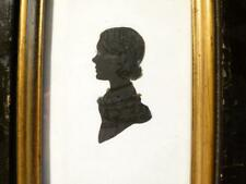 Antique 19th Portrait Silhouette Miniature LADY Rect Wood Frame Blk & Gilt