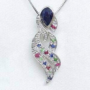 World Class 1.15ctw Sapphire, Ruby & Emerald 925 Sterling Silver Pendant 4g
