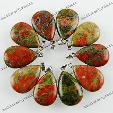 Gemstone Silver Tone Alloy Pendant Beads Wholesale 10ps Drop Natural Unakite Gem